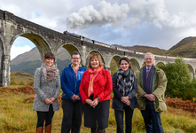 Cabinet Secretary Fiona Hyslop at Glenfinnan Viaduct